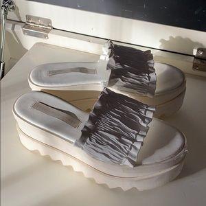 Stella- White wedge sandals